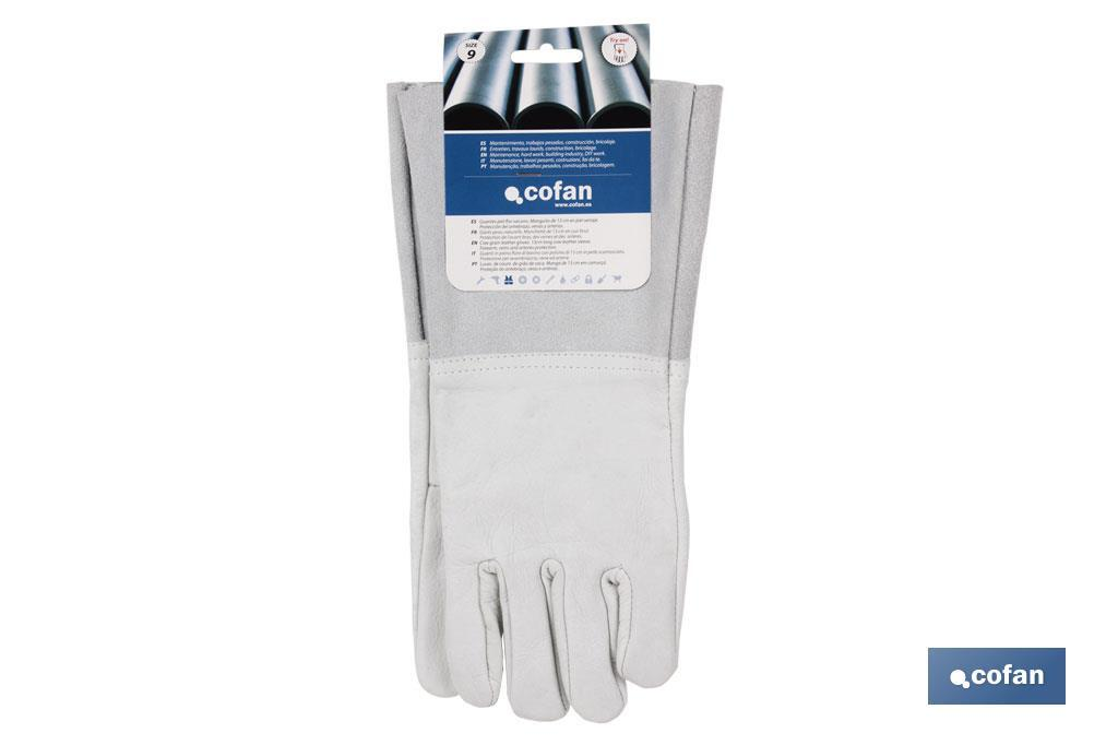 Cow grain leather gloves with 13 cm sleeves - Cofan