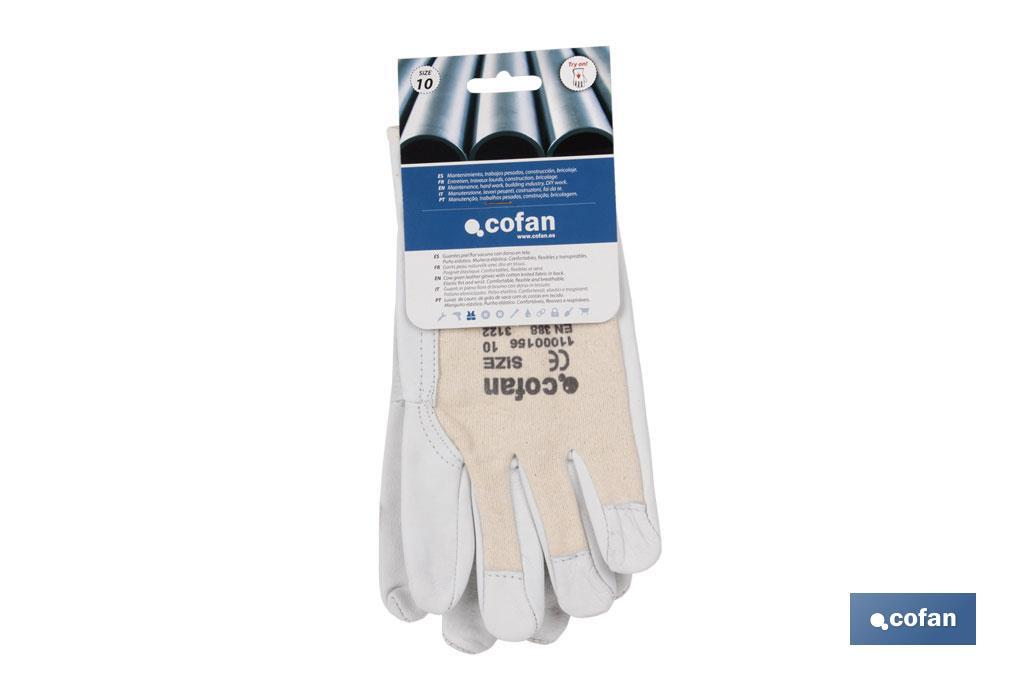 Cow full grain leather gloves and cloth reverse - Cofan