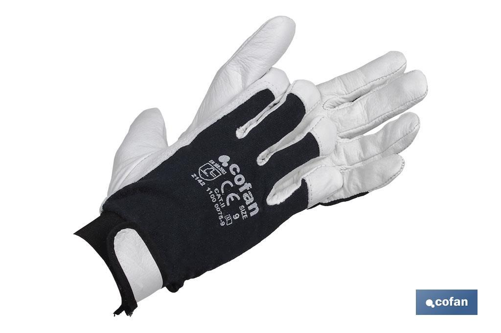 Cow full grain leather gloves and cloth reverse with velcro lock - Cofan