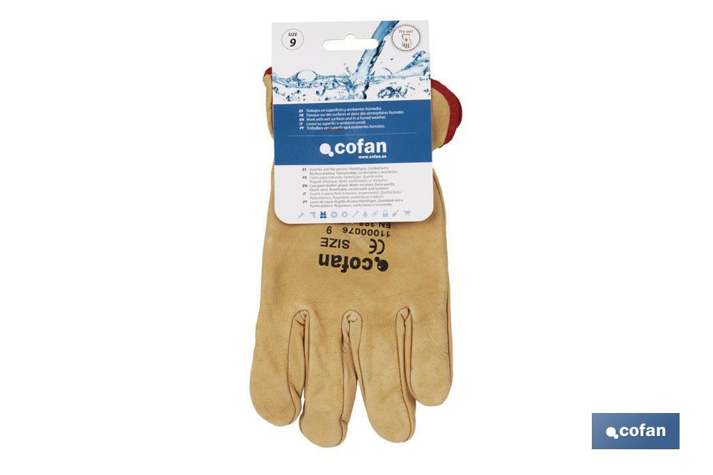 "Cow leather ""Extra"" water resistant gloves - Cofan"