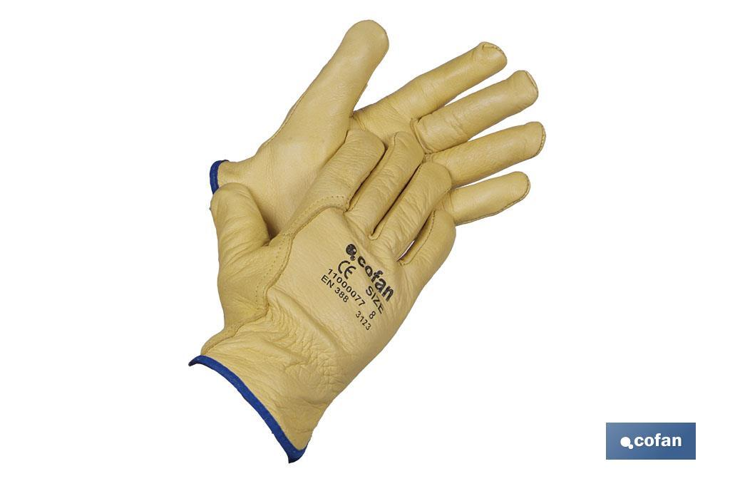 Cow leather extra gloves with inner cotton lining - Cofan